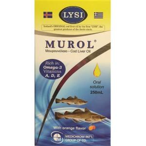MUROL Μουρουνέλαιο Πλούσιο σε Ωμέγα 3 & Βιταμίνες, Πόσιμο διάλυμα από τη  Medichrom,250ml
