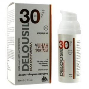 Delousil Αντηλιακή κρέμα προσώπου Silky Skin Formula με μεταξένια υφή spf 30 50ml